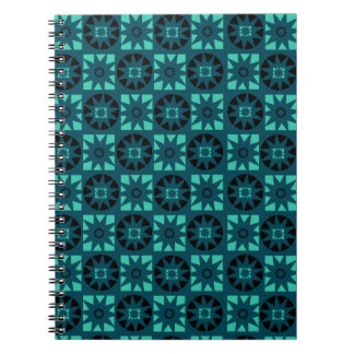Black Light Blue Aztec Geometric Floral Print Notebook