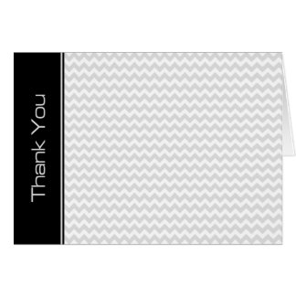 Black Light Gray Chevron Pattern Thank You Card