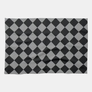 Black Light Gray Diamond Modern Geometric Pattern Tea Towel