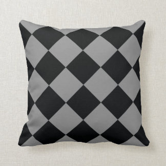 Black Light Gray Diamond Modern Geometric Pattern Throw Pillow