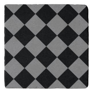 Black Light Gray Diamond Modern Geometric Pattern Trivet