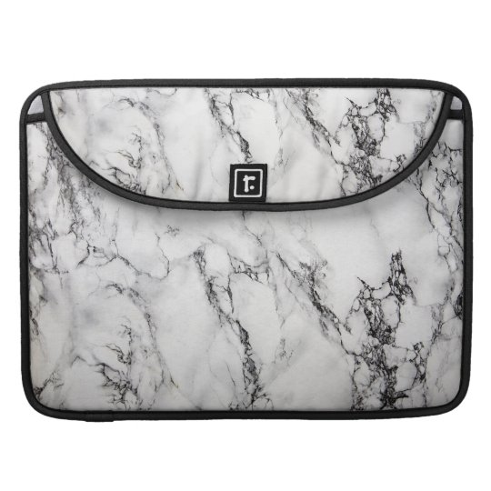 Black Light Grey And White Marble Stone Pattern Sleeve For MacBook Pro