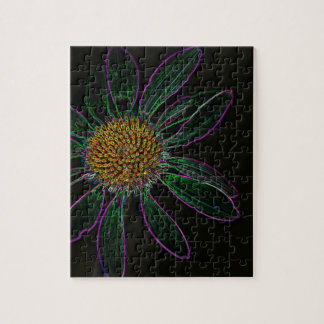 Black Light Neon Flower Power Jigsaw Puzzle