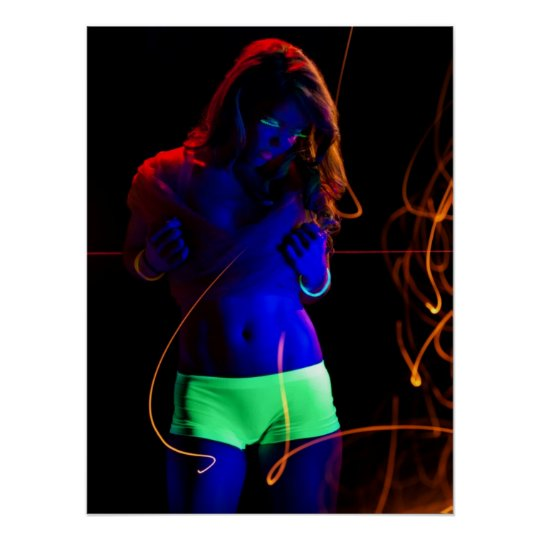 Black light woman poster