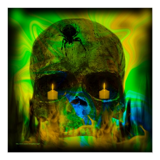 Black Lighted Gothic Skull Print