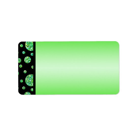 Black, Lime Glittery Dots Address Label Blank