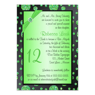 Black, Lime Glittery Polka Dot Bat Mitzvah Invite
