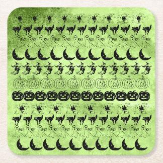 Black/Lime Green Halloween Fun Font Art Pattern Square Paper Coaster