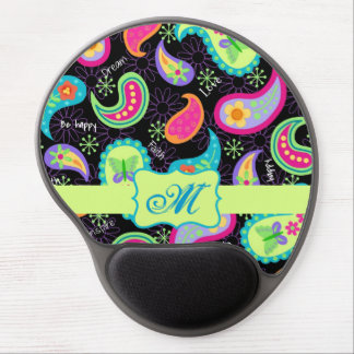 Black Lime Green Modern Paisley Pattern Monogram Gel Mouse Pad