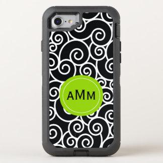 Black Lime Green Monogram OtterBox Defender iPhone 8/7 Case