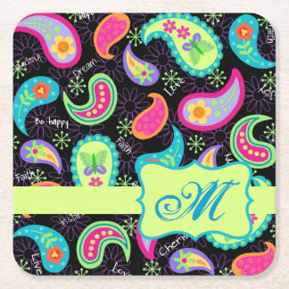 Black Lime Green Monogram Personalized Paisley Square Paper Coaster