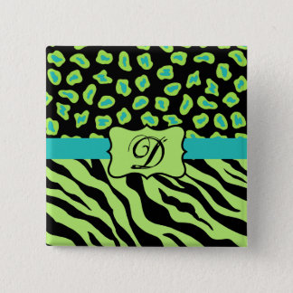 Black, Lime Green & Turquoise Zebra & Cheetah Skin 15 Cm Square Badge