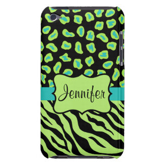 Black, Lime Green & Turquoise Zebra & Cheetah Skin Barely There iPod Cover