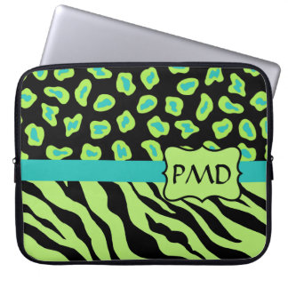 Black, Lime Green & Turquoise Zebra & Cheetah Skin Computer Sleeves