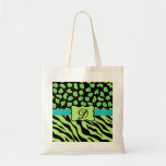 Black, Lime Green & Turquoise Zebra & Cheetah Skin Budget Tote Bag
