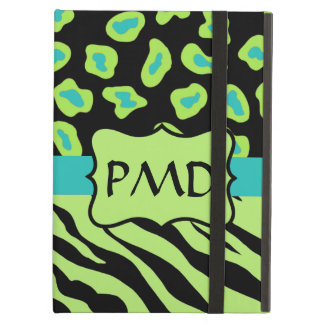 Black, Lime Green & Turquoise Zebra & Leopard Skin Cover For iPad Air
