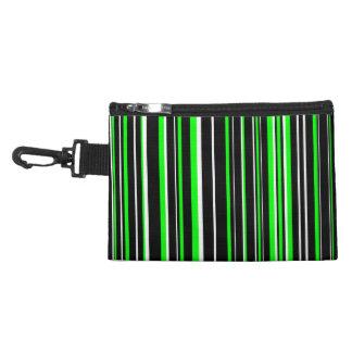 Black, Lime Green, White Barcode Stripe Accessory Bag