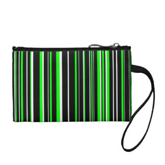 Black, Lime Green, White Barcode Stripe Change Purse