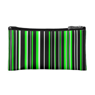 Black, Lime Green, White Barcode Stripe Cosmetic Bags