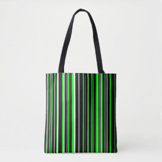 Black, Lime Green, White Barcode Stripe Tote Bag