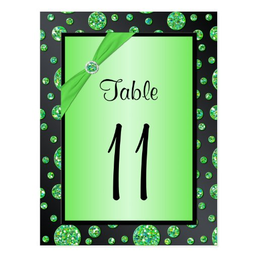 Black Lime Polka Dots Table Number Postcard