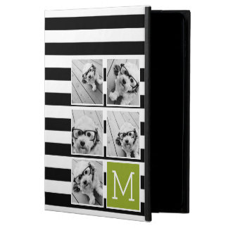 Black Lime Striped Photo Collage Custom Monogram