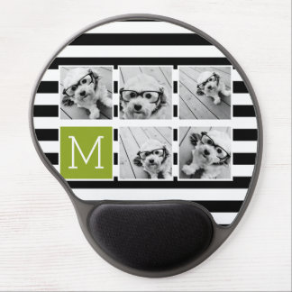 Black Lime Striped Photo Collage Custom Monogram Gel Mouse Pad