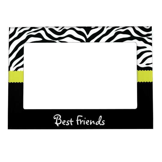 Black & Lime Zebra Stripe Best Friends Magnetic Photo Frame