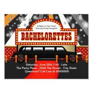 "Black Limo Bachelorette Party 4.25"" X 5.5"" Invitation Card"
