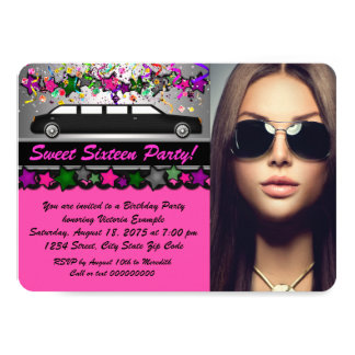 Black Limo Hot Pink Black Photo Sweet 16 Party 11 Cm X 16 Cm Invitation Card