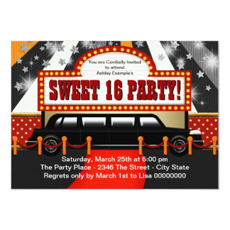 Black Limo Movie Star Sweet 16 Party Invites