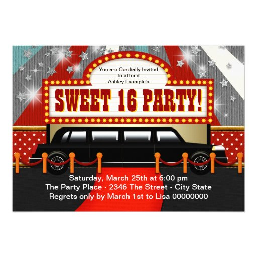 Black Limo Movie Star Sweet 16 Party Invite