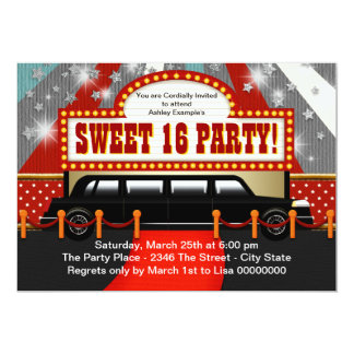 Black Limo Movie Star Sweet 16 Party Invite