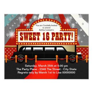 Black Limo Movie Star Sweet 16 Party Announcements