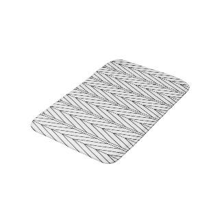 Black Line Chevron Design Bath Mat