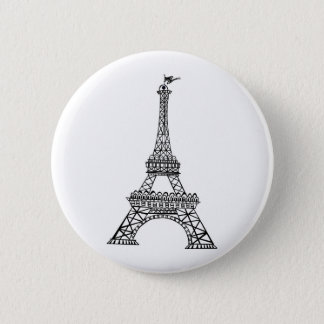 Black Line Eiffel Tower 6 Cm Round Badge