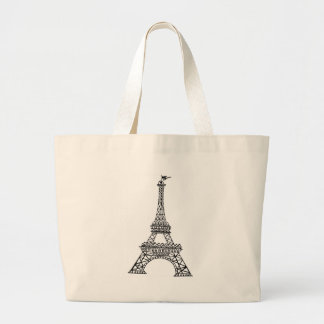 Black Line Eiffel Tower Large Tote Bag