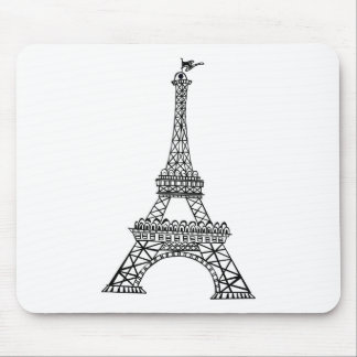 Black Line Eiffel Tower Mouse Pad