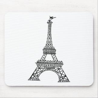 Black Line Eiffel Tower Mouse Mats