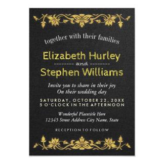 Black Linen Gold Floral Embroidery Wedding Shower 13 Cm X 18 Cm Invitation Card