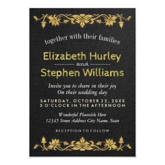 Black Linen Gold Floral Embroidery Wedding Shower Card