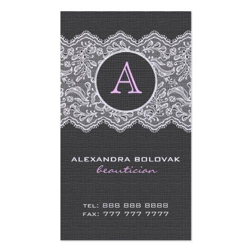 Black Linen & White Vintage Linen & Lace Business Card Templates