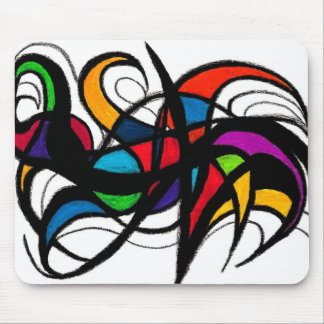 Black Lines Colour Block Abstract Mouse Mat
