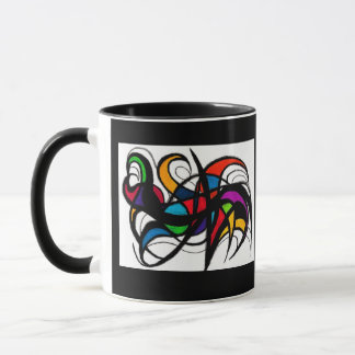 Black Lines Colour Block Abstract Mug