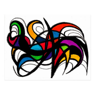 Black Lines Colour Block Abstract Postcard