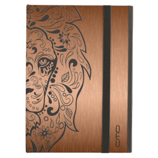 Black Lion Head Skull Metallic Copper Background iPad Air Cover