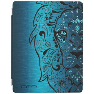Black Lion Sugar Skull Metallic Blue Background iPad Cover
