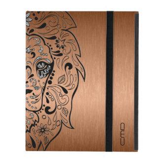 Black Lion Sugar Skull Metallic Copper Background iPad Covers