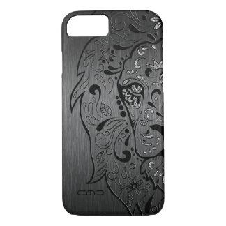 Black Lion Sugar Skull Metallic Gray Background iPhone 8/7 Case