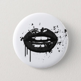 Black lips stylish fashion kiss makeup artist 6 cm round badge